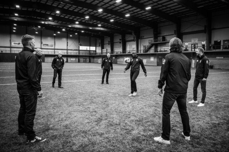 Canadian Premier League coaches met with Alex Bunbury during last week's CPL Coaches Summit. (Joelle Elfassy/CPL)