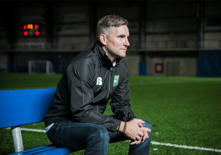 York 9 FC head coach Jimmy Brennan, watching from the sidelines.