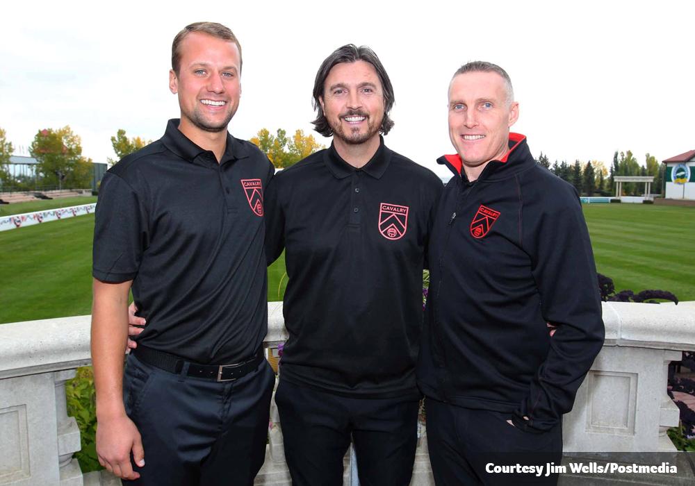 Cavalry FC's coaching staff of Jordan Santiago (L), Tommy Wheeldon Jr. (C) and Martin Nash (R). (Photo courtesy: Jim Wells, Postmedia)