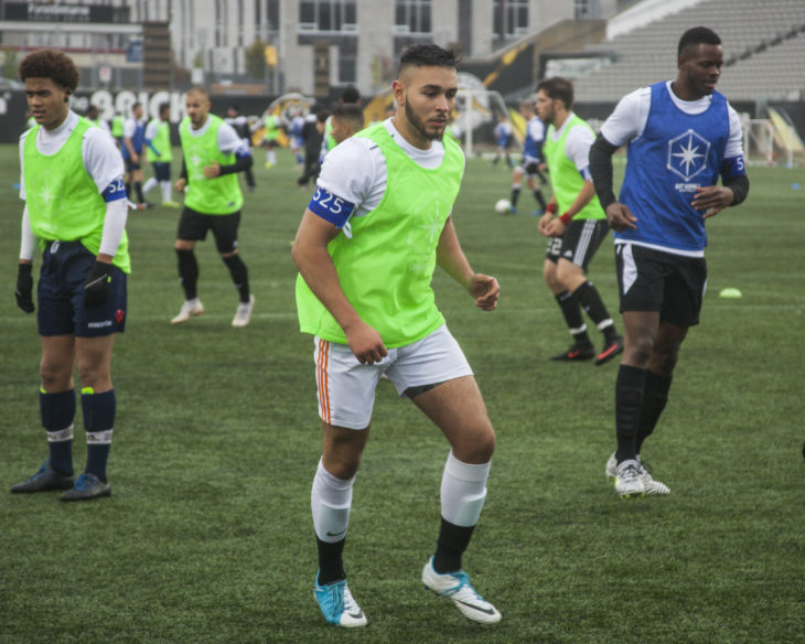 Taha Ilyass on the pitch at Tim Hortons Field. (Tyler Brown, CPL)