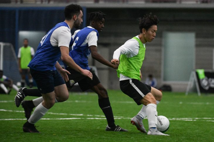 Yong Chan Son in action during Day 1 of the CPL's Open Trials. (Martin Bazyl, Canadian Premier League)