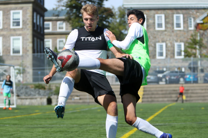 Halifax trialists battle for the ball during Stop 1 of the CPL's #GotGame Open Trials. (CPL)