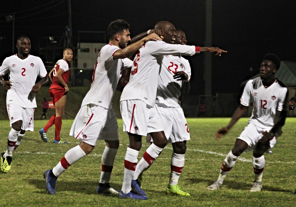 Atiba Hutchinson celebrates a goal over St. Kitts and Nevis. (Canada Soccer)
