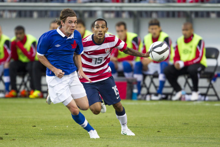 Nik Ledgerwood (L) in an international friendly against the United States. (Canada Soccer)