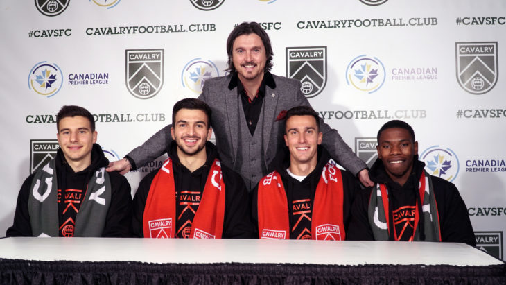 From Left To Right: Chris Serban, Marco Carducci, Tommy Wheeldon Jr., Dominick Zator and Elijah Adekugbe. (CPL)