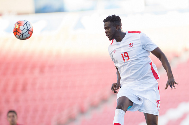 Skylar Thomas wins a header during the 2015 CONCACAF Olympic qualifying tournament. (Canada Soccer)