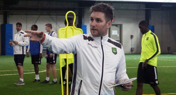 York9 FC head coach Jimmy Brennan directs training session.