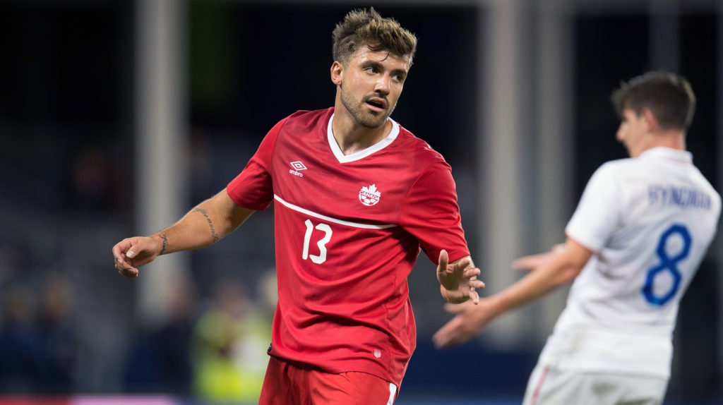 Michael Petrasso suiting up for Canada. (Canada Soccer).