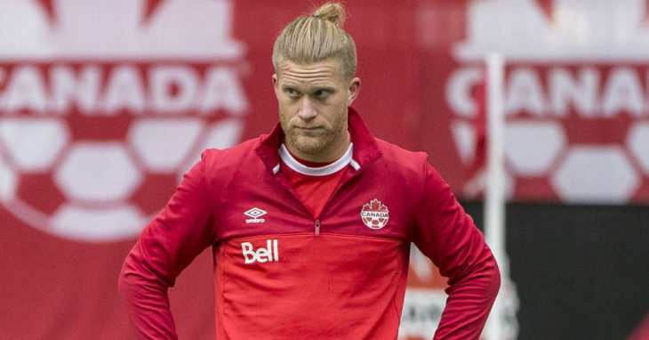 Marcel de Jong in training for Canada in March of 2016. (Canada Soccer).