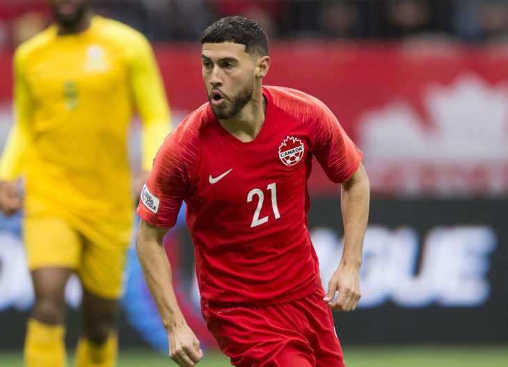 Canada's Jonathan Osorio during a Nations League qualifier with Fr. Guiana. (Canada Soccer)