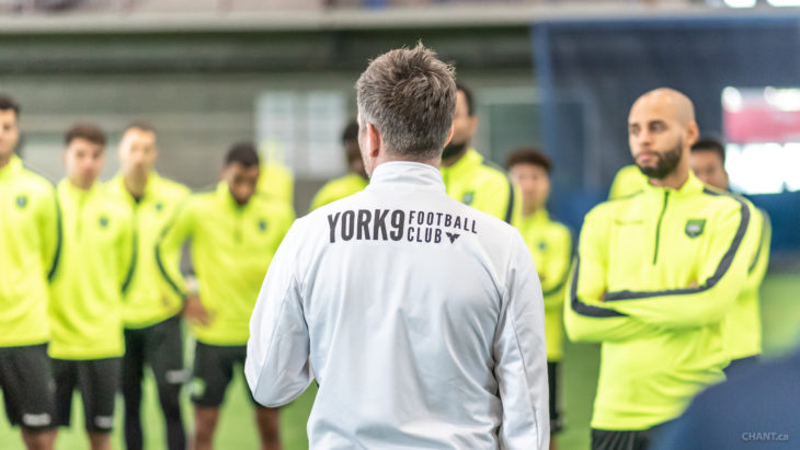 York9 FC listens to coach Jimmy Brennan during training. (CHANT Photography)