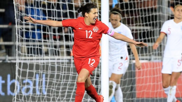 Christine Sinclair celebrates scoring her 180th goal for Canada in a 1-0 win against England. (Canada Soccer)