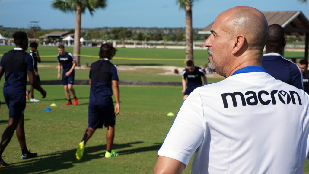 HFX head coach Stephen Hart watches on as training commences in the Dominican Republic. (Photo: Armen Bedakian/CPL).