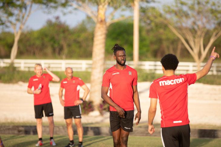Valour FC's Skylar Thomas taking instruction. (Nora Stankovic/CPL)