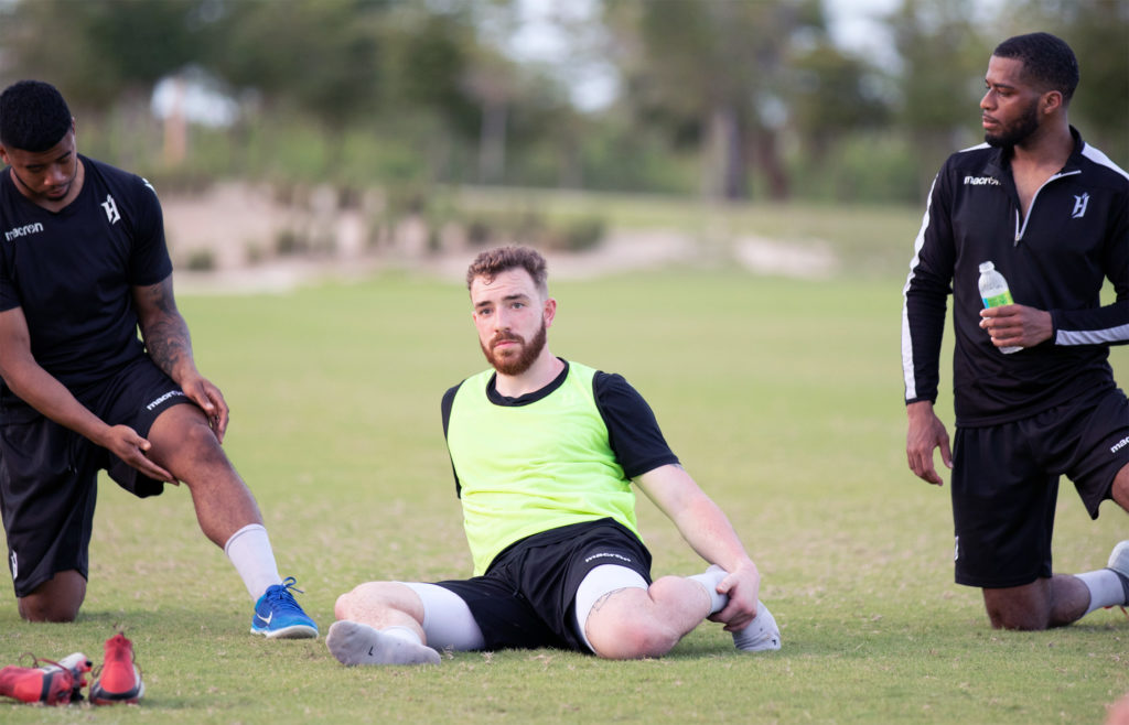 Anthony Novak (C) training in Punta Cana alongside Emery Welshman (L) and Johnny Grant (R). (Photo: Nora Stankovic/CPL).