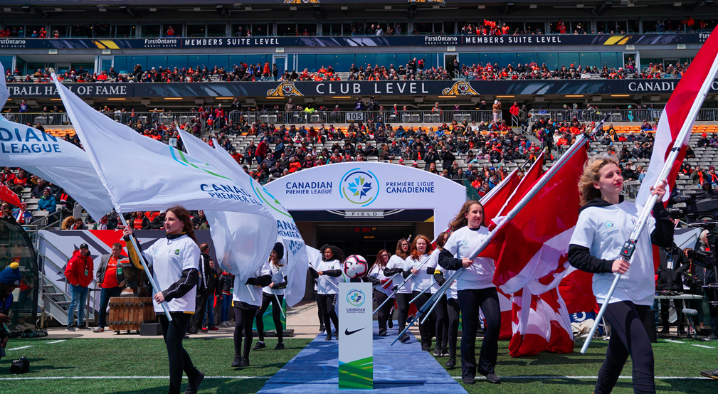 Opening ceremonies begin at the CPL's inaugural match at Tim Hortons Field between Forge FC and York9 FC. (David Grif/CPL).