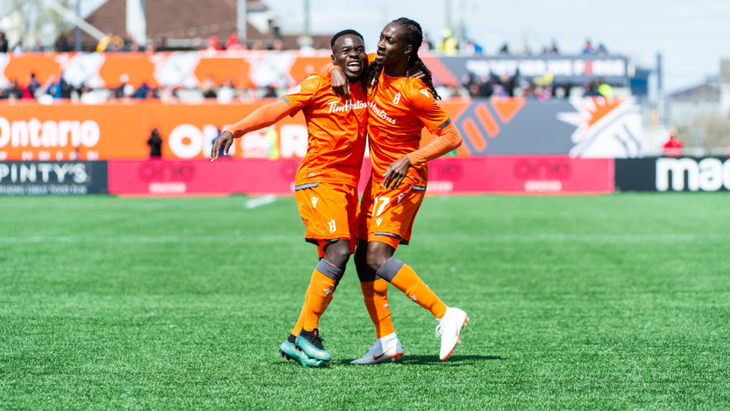 Kadell Thomas celebrates scoring Forge FC's first goal in club history. (Forge FC)