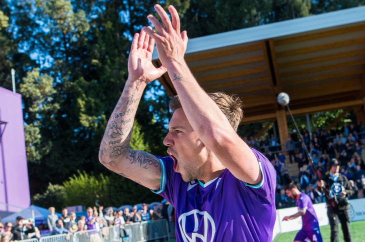 Pacific FC's Ben Fisk celebrates an opening win for club and league. (Photo: Pacific FC).