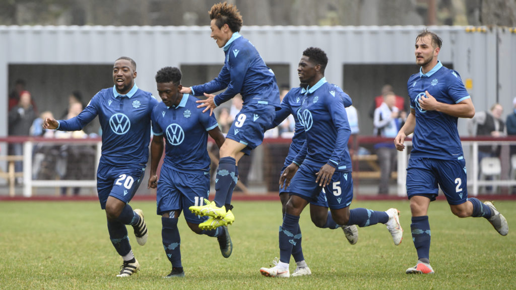 HFX Wanderers celebrate the club's first goal, scored against Forge FC by Akeem Garcia during the first half of Canadian Premier League match at Wanderers Grounds in Halifax. (Darren Calabrese/CPL).