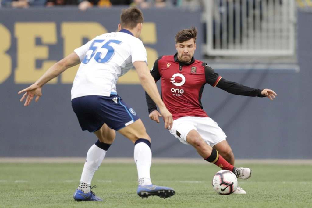 FC Edmonton defender Amer Didic (55) blocks a kick by Valour FC midfielder Michael Petrasso (9) in the second half during a Canadian Premier League match at Investors Group Field. (Photo: James Carey Lauder-USA TODAY Sports for CPL).