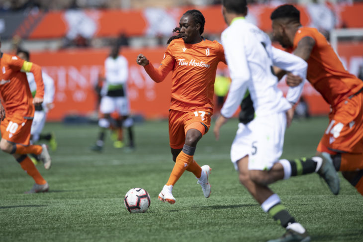 Kadell Thomas of Forge FC during the inaugural CPL match. (Photo: CPL).