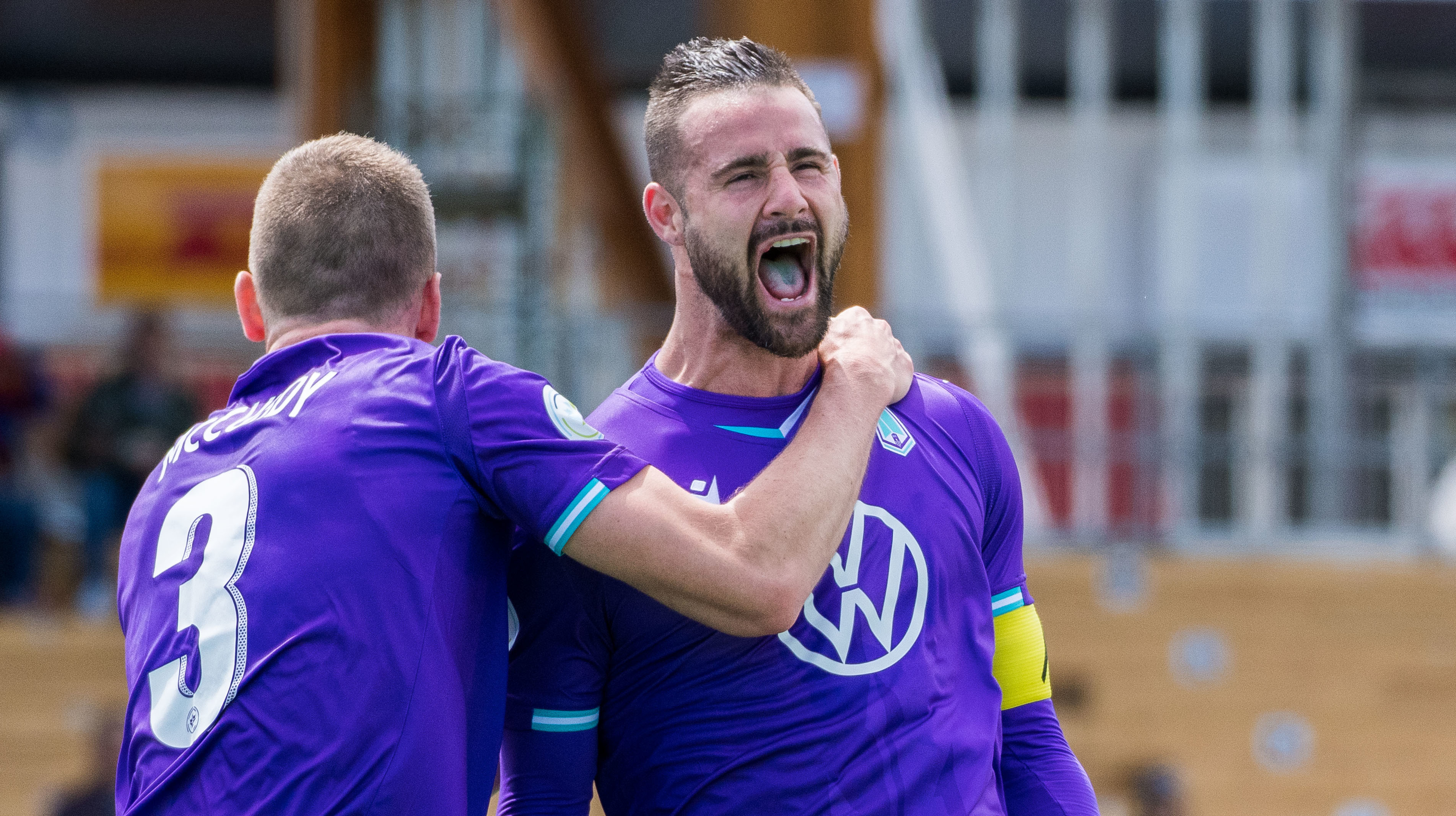 Striker Marcus Haber celebrates scoring his first Pacific FC goal. (Photo courtesy Pacific FC)..