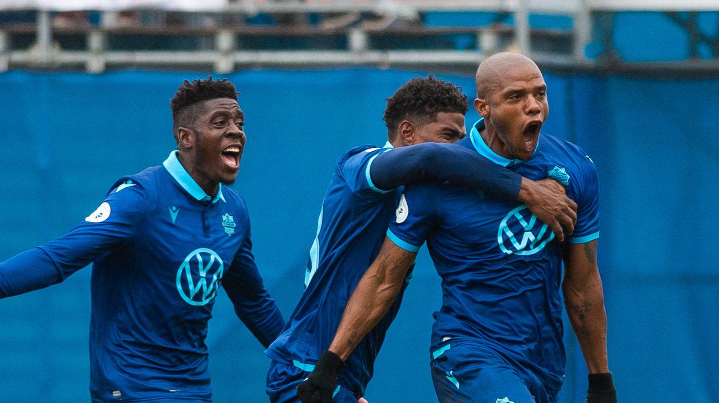 HFX Wanderers FC celebrate attacker Luis Alberto Perea's goal. (Trevor MacMillan/CPL)