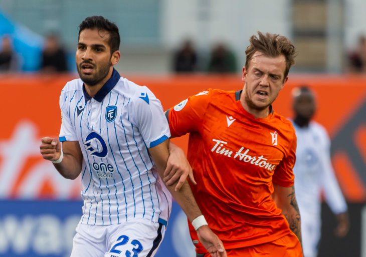 FC Edmonton's Ajay Khabra (L) takes on Forge FC's Alexander Achinioti-Jönsson (R). (Photo: Ryan McCullough).