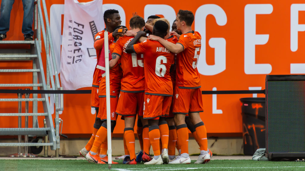 Forge FC celebrate at Tim Hortons Field. (Ryan McCullough/CPL).