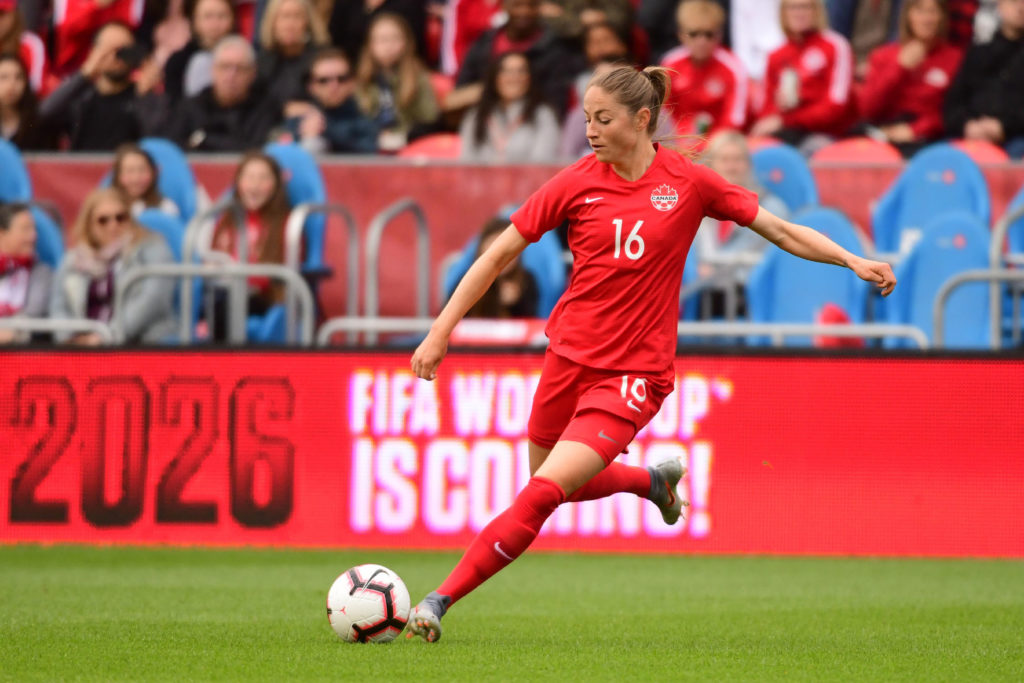 Janine Beckie in action during a friendly match in 2019. (Photo: Martin Bazyl/Canada Soccer).