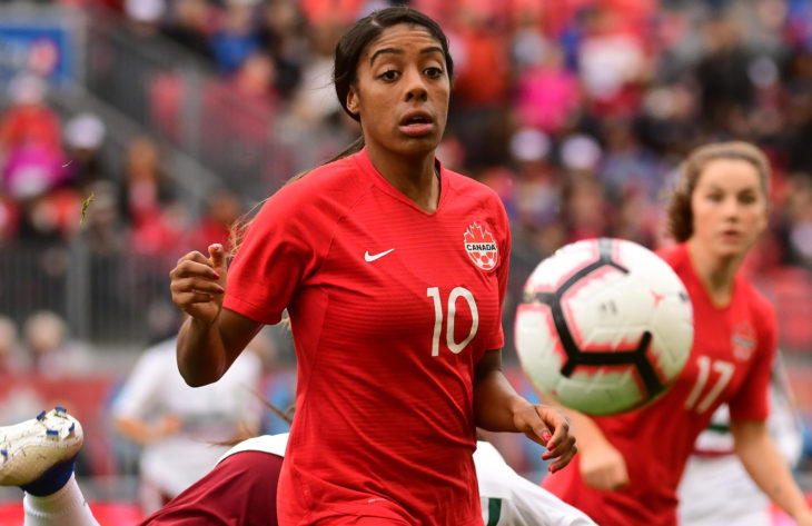Ashley Lawrence during a friendly on May 18, 2019. (Photo: Martin Bazyl/Canada Soccer).