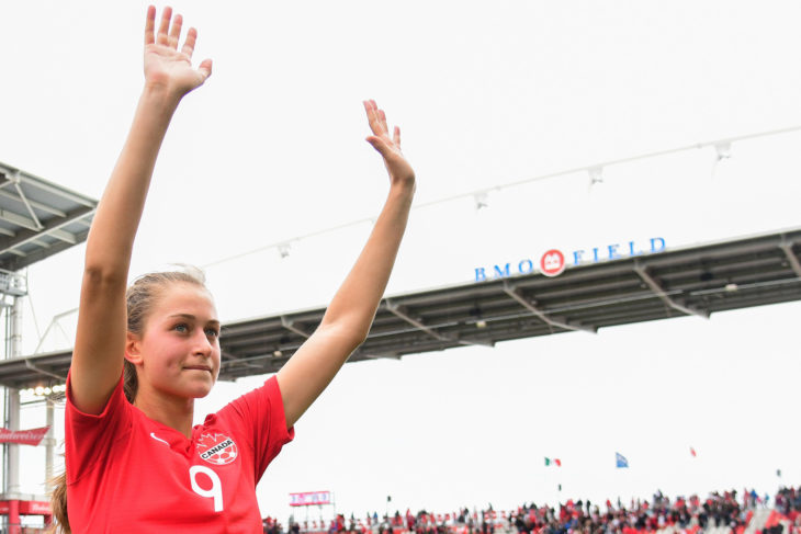 Jordyn Huitema waves to fans after a friendly in Toronto. (Photo: Martin Bazyl/Canada Soccer).