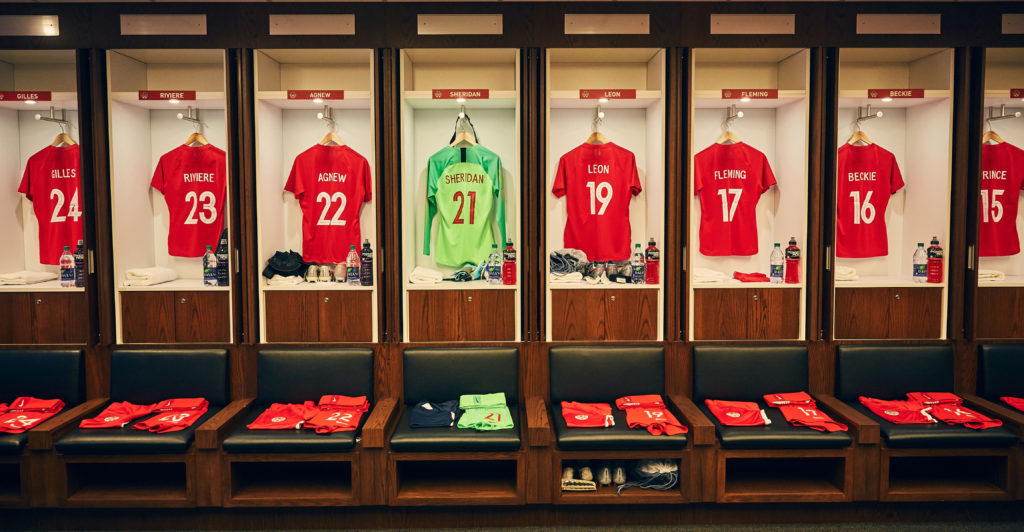 The CanWNT locker room ahead of a friendly match in 2019. (Photo: Al Quintero/Canada Soccer).
