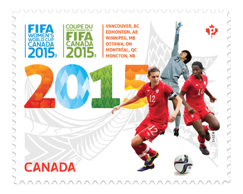 Christine Sinclair on a Canada Post stamp in 2015. (Photo via canadapost.ca).