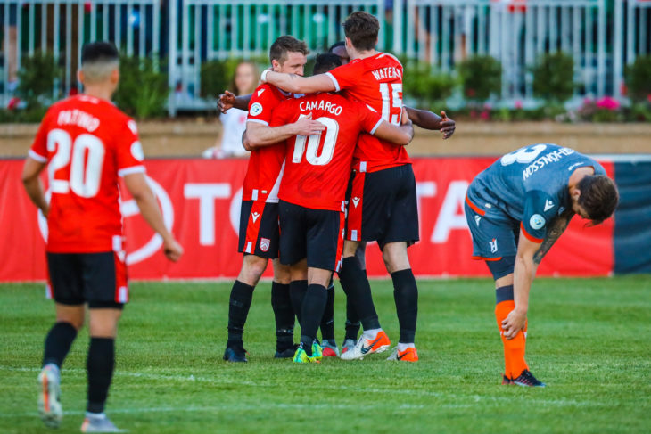 Cavalry FC players celebrate a win over Forge FC in the Canadian Championship. (Sergei Belski-USA TODAY Sports for CPL)