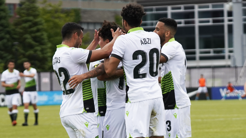 York9 FC players celebrate during their 1-0 win over Pacific FC at York Lions Stadium. (CPL).