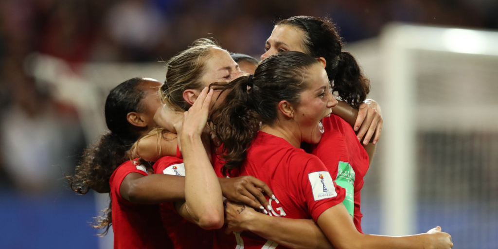 The Canadian women's national team celebrates a win over New Zealand in World Cup action. (Photo: Canada Soccer)