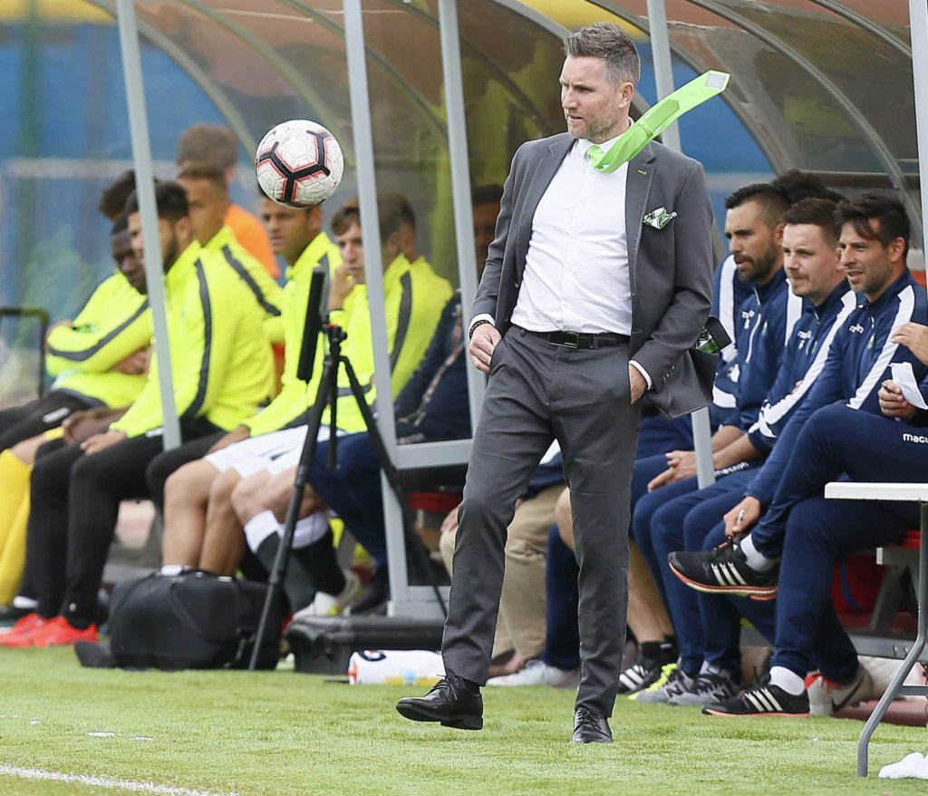 Jun 15, 2019; York, Ontario, CAN; York9 FC head coach Jim Brennan watches the ball during a Canadian Premier League soccer match against Pacific FC at York Lions Stadium. Mandatory Credit: John E. Sokolowski-USA TODAY Sports for CPL