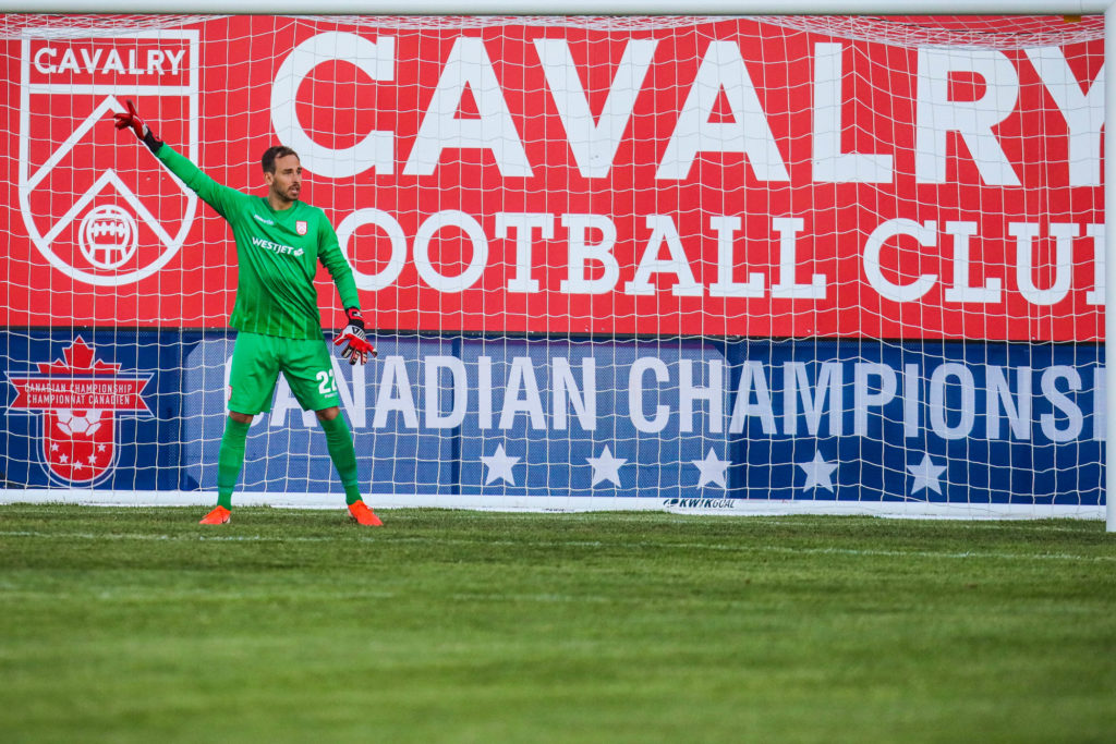 Jun 11, 2019; Calgary, Alberta, CAN; Cavalry FC goalkeeper Mikolas Giantsopoulos (22) in the second half against the Forge FC during a Canadian Championship soccer match at Spruce Meadows. Mandatory Credit: Sergei Belski-USA TODAY Sports for CPL
