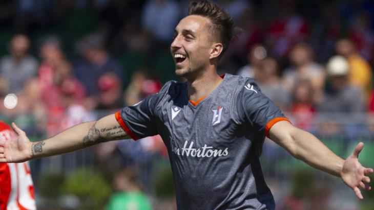 Marcel Zajac celebrates after Forge opening goal (Photo: Tony Lewis/CPL)