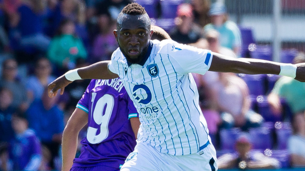 FC Edmonton forward Oumar Diouck. (James MacDonald/CPL)