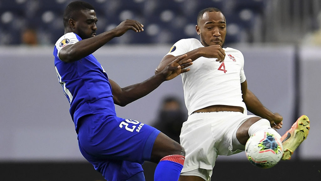 Derek Cornelius fights for the ball against Haiti at the 2019 CONCACAF Gold Cup. (Frantzdy Pierrot/Canada Soccer).