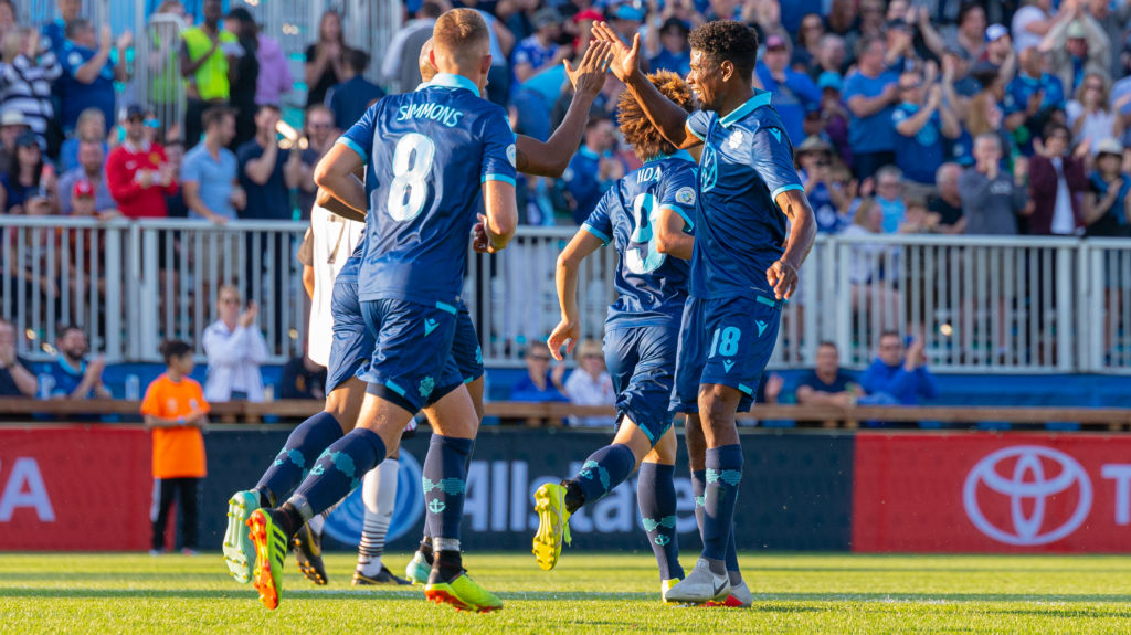 HFX Wanderers players celebrate after scoring against Ottawa Fury at Wanderers Grounds. (Trevor MacMillan/CPL)