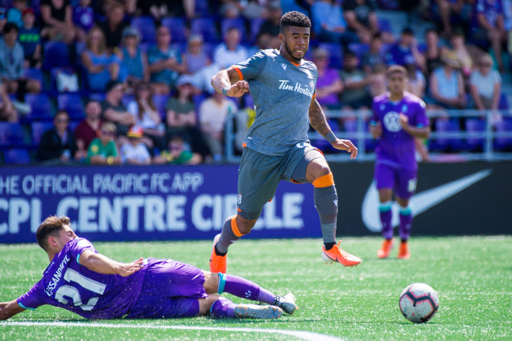Forge FC attacker Emery Welshman evades a tackle in a match against Pacific FC. (CPL).