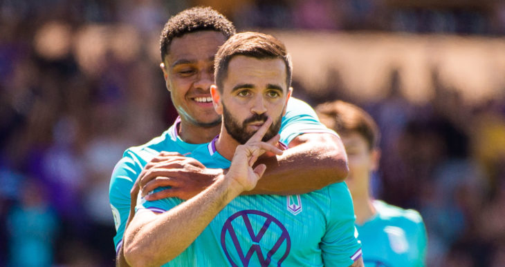 Pacific FC's Victor Blasco and Terran Campbell celebrates goals over HFX at Westhills Stadium. (Photo: Pacific FC).