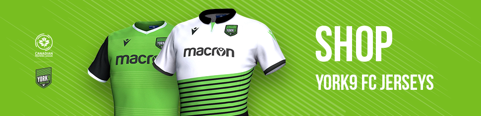 Visit shop.canpl.ca for York9 FC jerseys, hats, and more.