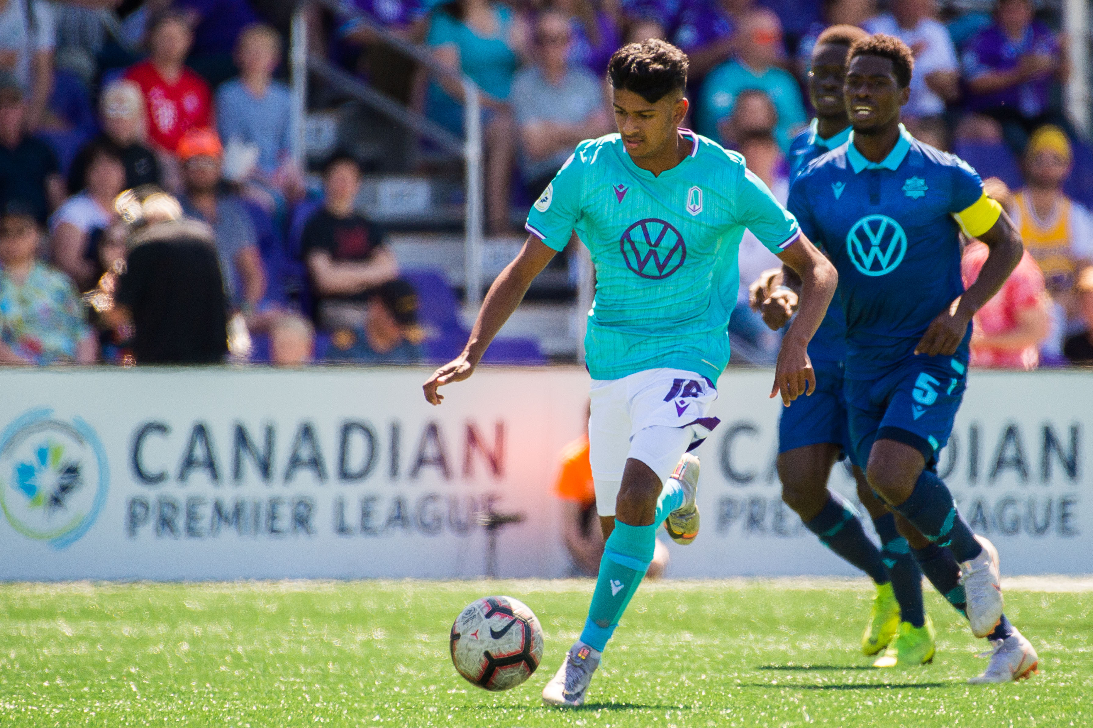 Pacific FC's Zach Verhoven in action vs. HFX Wanderers FC. (Photo: Pacific FC).