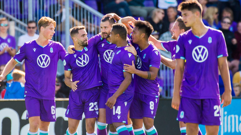 Pacific FC's Marcus Haber celebrates scoring against Valour FC. (Pacific FC/CPL).