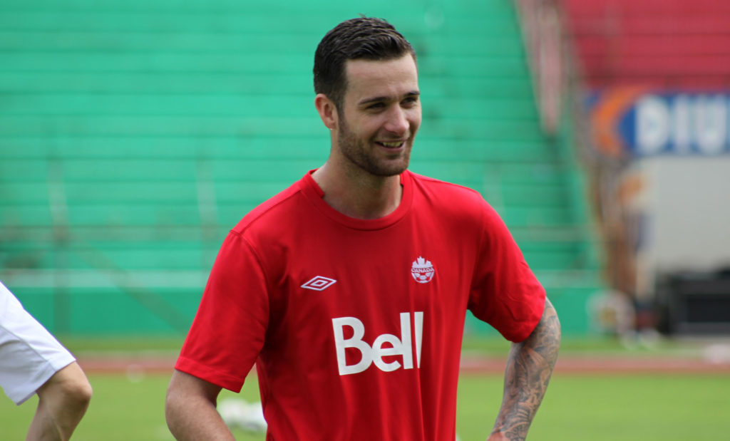 David Edgar training with the CanMNT in San Pedro Sula ahead of his team's WCQ against Honduras in 2012. (Photo: Canada Soccer).