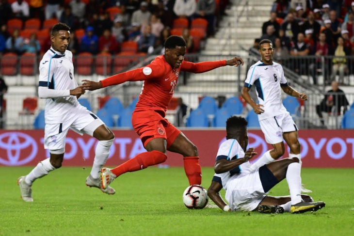 Jonathan David scores against Cuba in a 6-0 win to open CONCACAF Nations League play. (Photo: Canada Soccer).